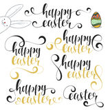 Lettering calligraphy set. Happy easter. Calligraphic phrases Easter with bunny Stock Images