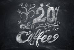 Lettering with chalk on a blackboard, 20% discount vector illustration