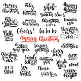 Lettering Christmas and New Year holiday calligraphy phrases photo overlays set isolated on the white background. Fun Royalty Free Stock Photography