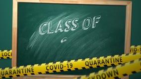 Class of 2021. Lettering in a school blackboard. Covid-19 concept.