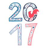 Lettering cock 2017. Lettering 2017 with cock for print, poster, sticker. Happy new year greeting card. Vector Stock Image