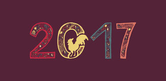 Lettering cock 2017. Lettering 2017 with cock for print, poster, sticker. Happy new year greeting card. Vector Royalty Free Stock Image