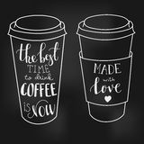 Lettering on coffee cup shapes set Royalty Free Stock Photo