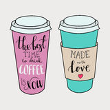 Lettering on coffee cup shapes set Royalty Free Stock Photography