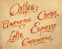 Lettering coffee drops kraft Royalty Free Stock Photography