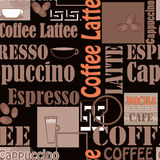 Lettering coffee and icons seamless pattern retro background Royalty Free Stock Photos