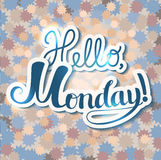 Lettering composition Hello Monday stock illustration