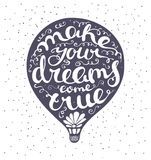 Lettering composition inscribed into air ballon. Dark blue air balloon and white letters.  illustration for print. Blue dots on background Stock Image