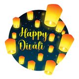 Lettering congratulation happy Divali with paper lanterns. Postcard with night sky and bright lanterns. Vector illustration stock illustration