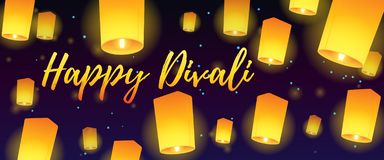 Lettering congratulation happy Divali with paper lanterns. Postcard banner with night sky and bright lanterns. Vector illustration royalty free illustration