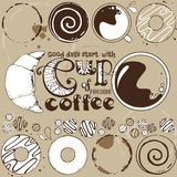 Lettering with cup of coffee and sweets. Abstract background Royalty Free Stock Images