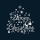 Lettering, decorative composition. Greeting card for Merry Christmas. Snowflakes Stock Image