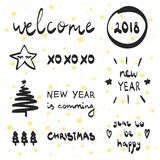 Lettering and decorative elements collection New Year 2018. Vector illustration set for greeting cards, tags, posters. Christmas and New Year 2018 lettering and Stock Photo