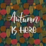 Lettering design with abstract autumn background with leaves. Trendy hand drawn textures Stock Illustration