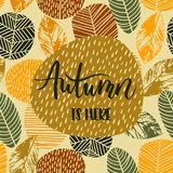 Lettering design with abstract autumn background with leaves. Trendy hand drawn textures Vector Illustration
