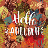 Lettering design with abstract autumn seamless background. With leaves. Trendy hand drawn textures Stock Illustration