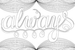 Lettering -always, design elements for adult coloring book, outline. Stock Photos