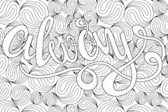 Lettering -always, design elements for adult coloring book, outline. Royalty Free Stock Photography