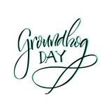 lettering Dia de Groundhog Imagem de Stock Royalty Free