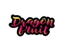 Lettering Dragon fruit with pink gradient stock illustration