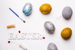 Lettering for Easter with eggs. On white background royalty free stock images