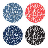 Lettering element in four colors Stock Photos