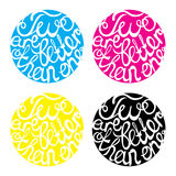 Lettering element  in four colors for wedding Stock Photos