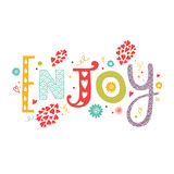 Lettering Enjoy with decorative floral elements. Vector lettering Enjoy with decorative floral elements isolated on white background, hand drawn letters Stock Image
