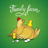 Lettering family farm. Hen with chicks. Illustration Stock Images