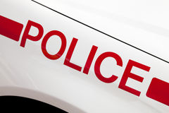 Lettering on fender of police car Stock Photo