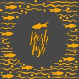 Fresh fish round template Royalty Free Stock Images