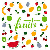 Lettering fruits. Amazing fruits and veggis flat design template in vector. Healthy food and plant base diet concept. Handdraw lettering text.  For menu, banners Royalty Free Stock Photography