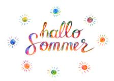 Lettering in german language, hello summer in german, handdrawn stock illustration