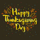 Lettering greeting cards with text Happy Thanksgiving day Stock Images