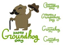 Lettering for Groundhog Day groundhog with a mustache Royalty Free Stock Image