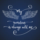 Lettering hand drawn quote with angel wings. Royalty Free Stock Photos