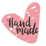 Hand made with heart. Lettering hand made with heart. Hand drawn vector illustration, brushpen. Hand lettering quote for handcrafted products. Calligraphic logo vector illustration