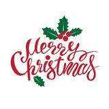 Merry Christmas lettering. Lettering hand-written merry Christmas on a white background. For invitations, posters, registration of pages in social networks Stock Photo