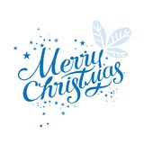 Merry Christmas lettering. Lettering hand-written merry Christmas on a white background. For invitations, posters, registration of pages in social networks Royalty Free Stock Photography