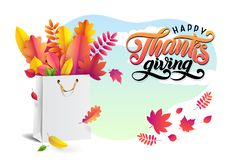 Lettering text Happy Thanksgiving. Vector bright bouquet of autumn fallen leaves in white shopping bag. Sky background. stock illustration