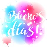 Lettering. Handwritten `Buenos dias` poster. Stock Photo