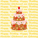 Lettering Happy Birthday in English and German Royalty Free Stock Photography
