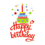 Lettering happy birthday. On white background.Illustration Stock Photos