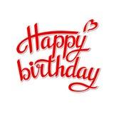 Lettering happy birthday. On white background.Illustration Stock Photo