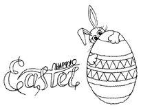 Lettering Happy Easter in egg, Easter bunny, hand drawn monochrome sketch stock vector illustration design element Royalty Free Stock Photography