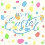 Lettering Happy Easter on eggs background. Blue lettering Happy Easter with colorful eggs and spots on white background, illustration stock illustration