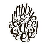 Lettering Happy Easter, hand drawn monochrome sketch stock vector illustration design element for coloring page Stock Photo