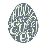 Lettering Happy Easter, hand drawn typography banner stock vector illustration design element for coloring page Stock Images