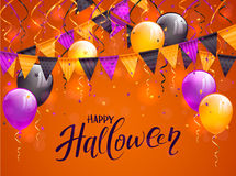 Lettering Happy Halloween with balloons and pennants. Lettering Happy Halloween on orange background with multicolored pennants, balloons, streamers and confetti Stock Photography
