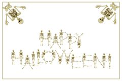 Lettering Happy Halloween with dancing skeletons font, set of le Royalty Free Stock Photo